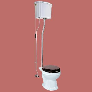 <PRE>White High Tank Toilet, Round Bowl, Chrome L-Pipe  </PRE>