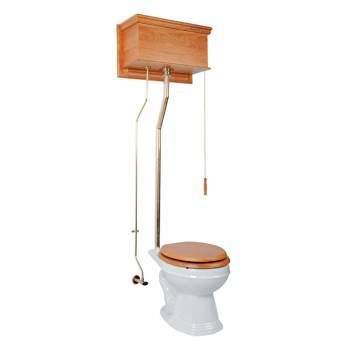 High Tank Toilet Round White Bowl Solid Wood Brass