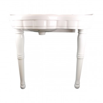 White Porcelain Bathroom Console Sink Southern Belle with Spindle Legs Gloss Console Sink With Spindle Legs Glossy Console Bathroom Sink Console Sinks For Small Bathrooms
