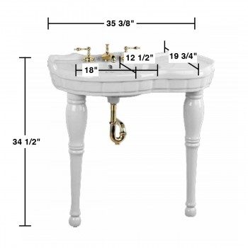 spec-<PRE>Bathroom Console Sink White Porcelain Southern Belle Two Spindle Legs Wall Mount</PRE>