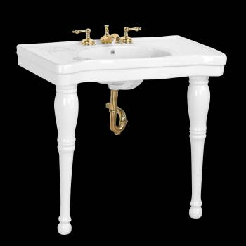 Console Sinks - Belle Epoque Deluxe White Two Spindle Legs 8 in. widespread by the Renovator's Supply