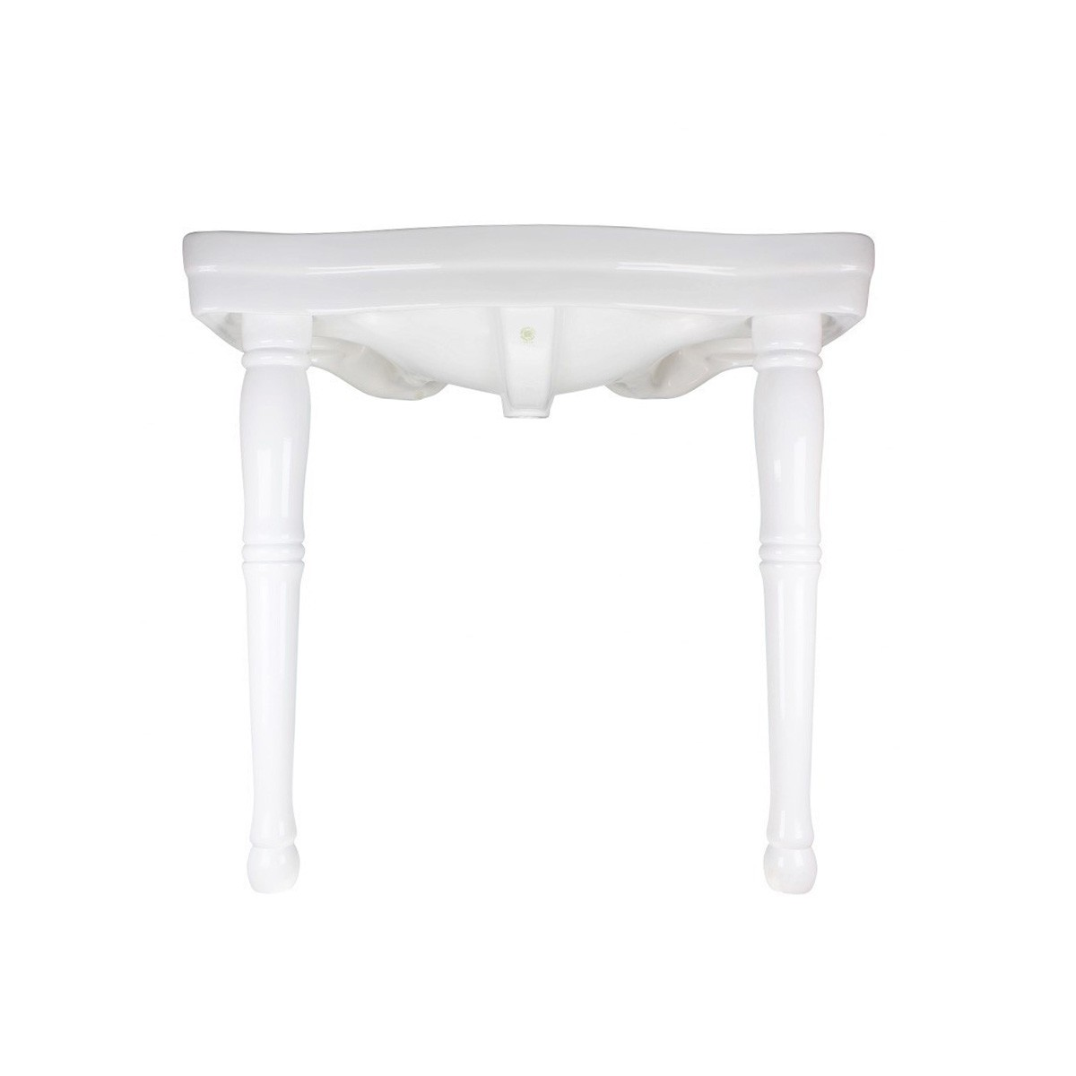 White Console Sink with Widespread Faucet Holes and Hard Wood Spindle Style Legs Glossy Console Bathroom Sink Console Sink With Spindle Legs Console Sinks For Small Bathrooms