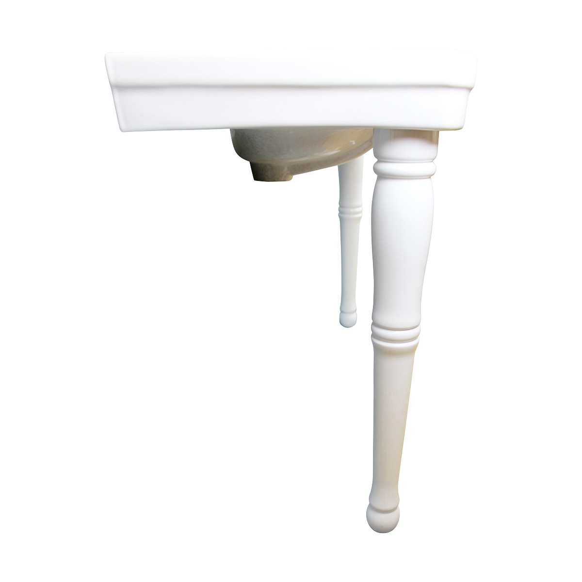 White Wall Mount Bathroom Console Double Basin Sink with Spindle Leg Support Porcelain Console Sink Double Basin Console Sink With Spindle Legs Glossy Console Bathroom Sink