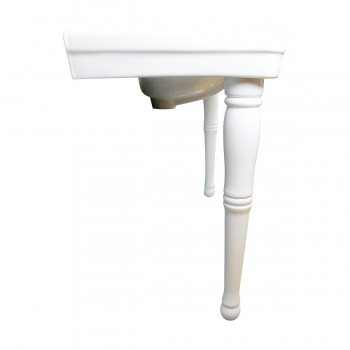 <PRE>White Wall Mount Bathroom Console Double Basin Sink with Spindle Leg Support </PRE>zoom5