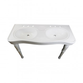 <PRE>White Wall Mount Bathroom Console Double Basin Sink with Spindle Leg Support </PRE>zoom10