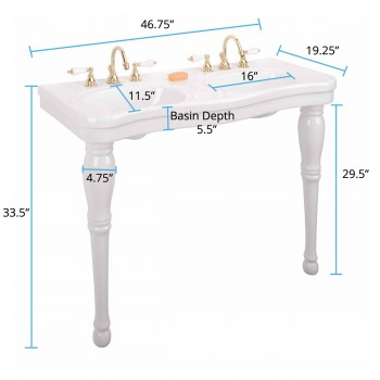 spec-<PRE>White Wall Mount Bathroom Console Double Basin Sink with Spindle Leg Support </PRE>