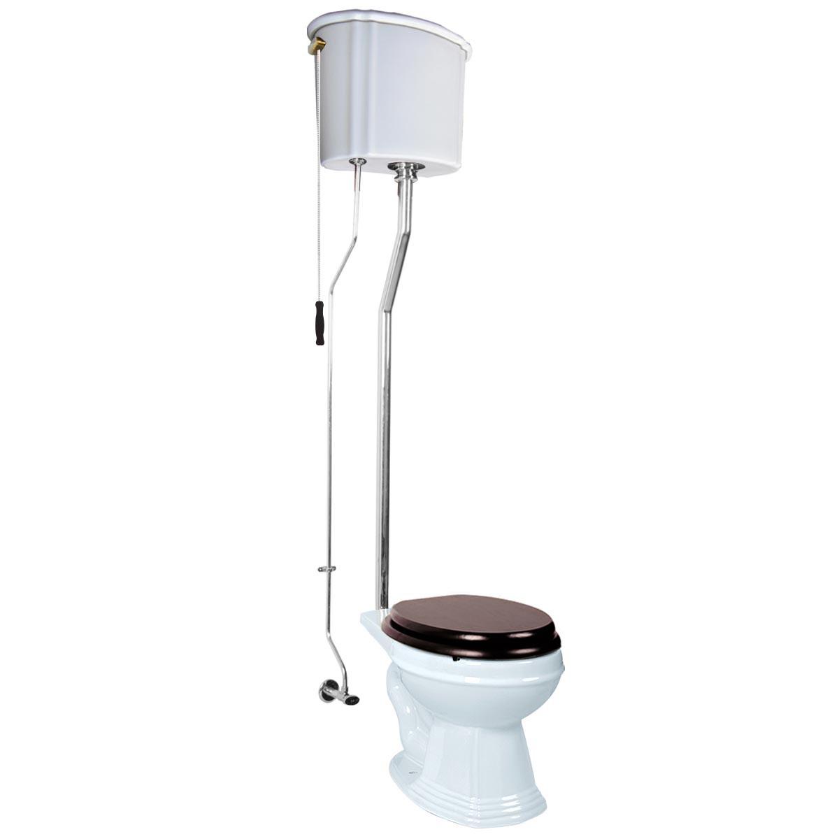 High Tank Toilet, Elongated Bowl, Chrome L-Pipe