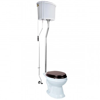 White High Tank Pull Chain Toilet with White Elongated Bowl and Chrome LPipe