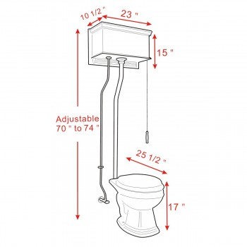 spec-<PRE>Dark Oak Flat Panel High Tank Toilet Round White China Bowl Brass LPipe </PRE>