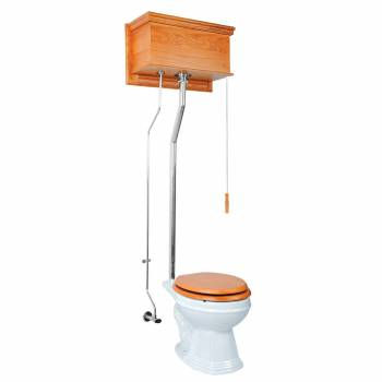 Light Oak High Tank Pull Chain Toilet with White Round Bowl and Chrome LPipe