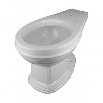 High Tank Toilet Dark Oak Flat Panel Tank Round White Porcelain Bowl Chrome LPipe High Tank Pull Chain Toilets Round Bowl Pull Chain Toilet Old Fashioned Toilet