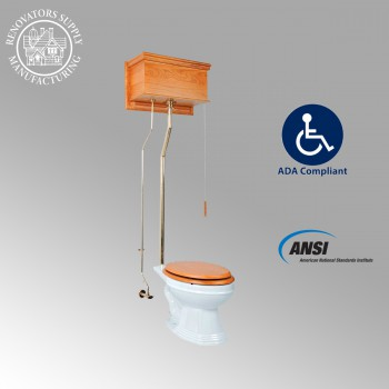 <PRE>Light Oak High Tank Pull Chain Toilet White Elongated Toilet Bowl Brass L-Pipe </PRE>zoom2