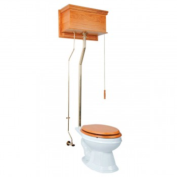 Light Oak High Tank Pull Chain Toilet White Elongated Toilet Bowl Brass L-Pipe 12197grid