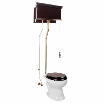Dark Oak High Tank Pull Chain Toilet Elongated Brass Flat Panel Tank12198grid