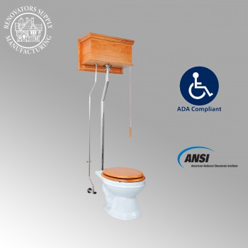<PRE>Light Oak High Tank Pull Chain Toilet With White Elongated Toilet Bowl </PRE>zoom2
