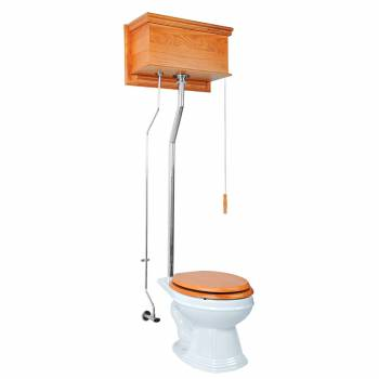 Light Oak High Tank Pull Chain Toilet With White Elongated Toilet Bowl 12199grid