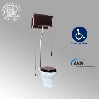 Dark Oak Finish Tank Pull Chain Toilets 12201 by the Renovator's Supply
