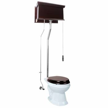 Dark Oak High Tank Pull Chain Toilet with White Elongated Bowl and Chrome LPipe