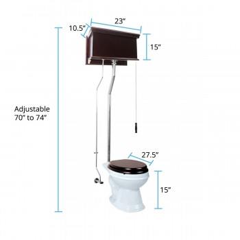 spec-<PRE>Dark Oak High Tank Pull Chain Toilet with White Elongated Bowl and Chrome L-Pipe</PRE>