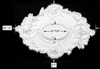 Ceiling Medallions - Ceiling Medallion Bastien 21 H x 30 1/4 W Without Center Cut by the Renovator's Supply