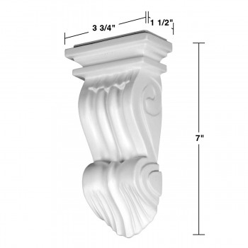 spec-<PRE>Victorian Wall Fireplace Corbel White Urethane Vintage </PRE>