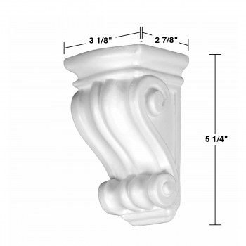 spec-<PRE>Victorian Wall Fireplace White Urethane Vintage Corbel </PRE>