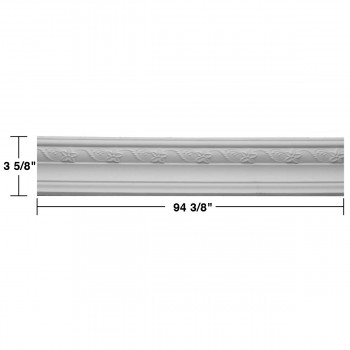 spec-<PRE>Ornate Cornice White Urethane 3 5/8&quot; H </PRE>