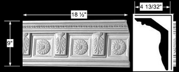 spec-<PRE>Cornice White Urethane Sample of 10493 18&quot; Long </PRE>