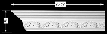 spec-<PRE>Cornice White Urethane Sample of 10984 23.5&quot; Long </PRE>