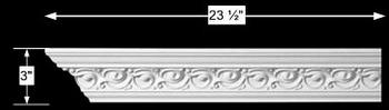 spec-<PRE>Cornice White Urethane Sample of 10989 23.5&quot; Long </PRE>
