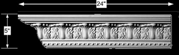 spec-<PRE>Cornice White Urethane Sample of 11196 24&quot; Long </PRE>