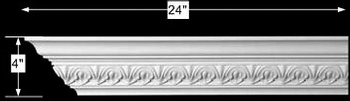 "spec-<PRE>Cornice White Urethane Sample of 11363 24"" Long </PRE>"