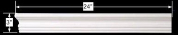 spec-<PRE>Cornice White Urethane Sample of 11543 24&quot; Long </PRE>