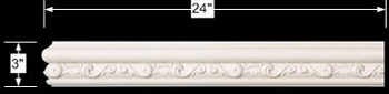 spec-<PRE>Cornice White Urethane Sample of 11597 24&quot; Long </PRE>