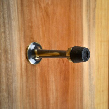 <PRE>Door Stop Antique Brass Wall Mount Bumper 3 1/2inch Proj </PRE>zoom8