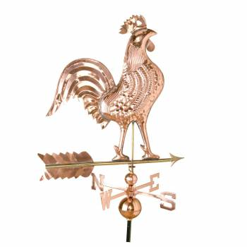 Extra Large Weathervane Rooster Polished Copper Roof Mount