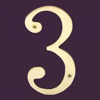 <PRE>Cast Solid Brass 8inch Address House Number '3' </PRE>zoom2