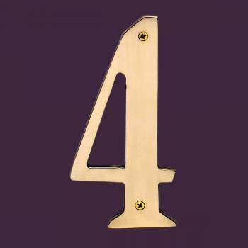 <PRE>Cast Solid Brass 8inch Address House Number '4' </PRE>zoom2