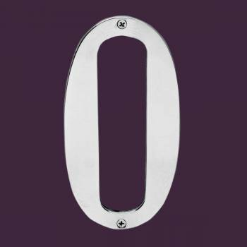 <PRE>Cast Solid Brass 8&quot; Address House Number '0' Chrome </PRE>