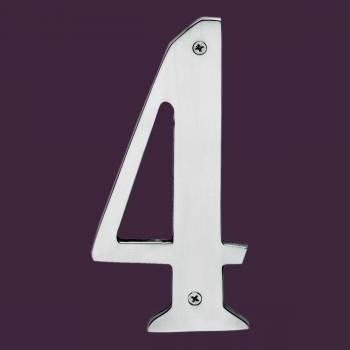 <PRE>Cast Solid Brass 8&quot; Address House Number '4' Chrome </PRE>