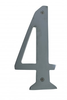 <PRE>Cast Solid Brass 8inch Address House Number '4' Chrome </PRE>zoom1