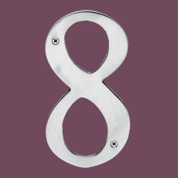 <PRE>Cast Solid Brass 8&quot; Address House Number '8' Chrome </PRE>