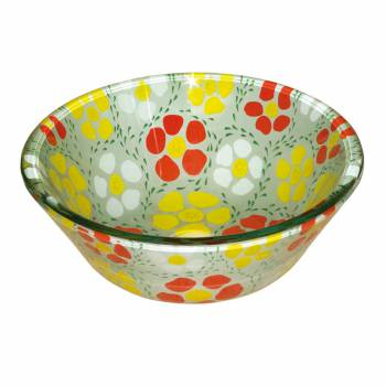 Floral Tempered Glass Vessel Sink w/ Drain, Double Layer Barrel Shape Bowl Sink 12772grid