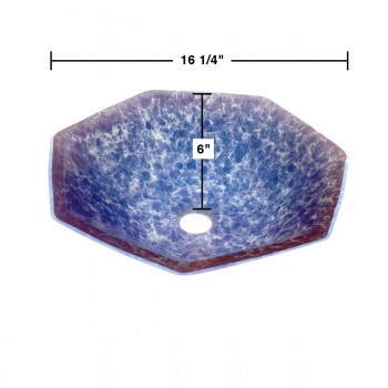 spec-<PRE>Tempered Glass Vessel Sink with Drain, Blue Crystal Heptagon Above Counter Sink</PRE>