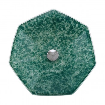 <PRE>Green Crystal Heptagon Bowl Tempered Glass Vessel Sink with Chrome Pop-Up Drain</PRE>zoom3