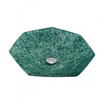 <PRE>Green Crystal Heptagon Bowl Tempered Glass Vessel Sink with Chrome Pop-Up Drain</PRE>zoom4