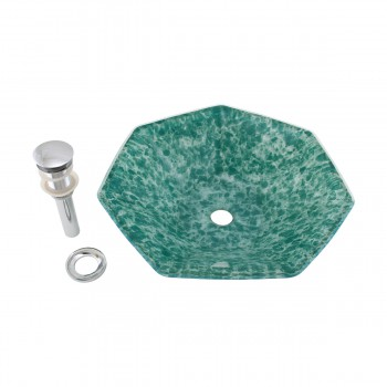 Green Crystal Heptagon Bowl Tempered Glass Vessel Sink with Chrome Pop-Up Drain12779grid