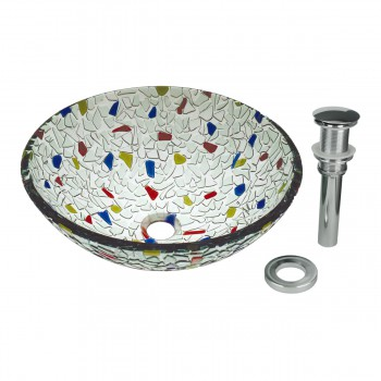 Round Vessel Sink Tempered Glass Bowl Sink Mosaic Style 12785grid