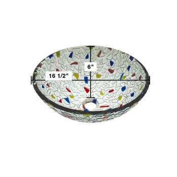 spec-<PRE>Round Vessel Sink Tempered Glass Bowl Sink Mosaic Style </PRE>