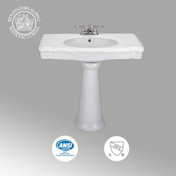 <PRE>Old Pedestal Sink Bathroom Console White China Darbyshire </PRE>